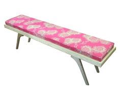 DT Retro Bench in solid Ash Wood with a bright Design Team fabric Garden Bloom Nitro on Fuchsia. Made to order #wood #bench #retro #furniture