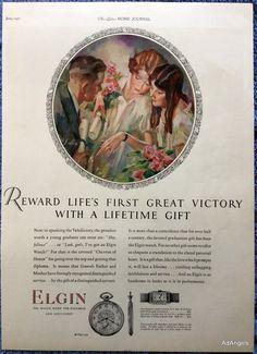 1927 Elgin Watch Young Lady Wrist Watch Reward Valedictory Honor Victory ad | eBay