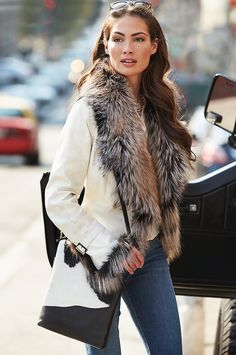 Celestine Lambskin Leather Moto Jacket With Fox Fur Trim * You can find out more details at the link of the image. (This is an affiliate link) Coats For Women, Jackets For Women, Leather Jacket Dress, Moto Jacket, Leather Jacket With Fur, Leather Jackets For Sale, Fur Jackets, Fur Collars, Lambskin Leather