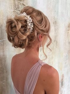 long wavy wedding updo hairstyle 2 via aleksandra prudnikov - Deer Pearl Flowers / http://www.deerpearlflowers.com/wedding-hairstyle-inspiration/long-wavy-wedding-updo-hairstyle-2-via-aleksandra-prudnikov/