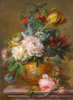 """Willem van Leen (1753-1825): Still Life of Flowers, oil on wood, 49 x 37 cm, private collection """