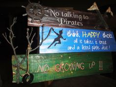 3 Directional Sign Wooden Mile Marker Peter Pan by TheTrashySide, $75.00