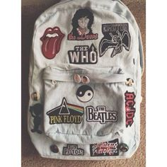 Bag: denim backpack band pink floyd the rolling stones grunge rock... ❤ liked on Polyvore featuring bags, backpacks, rock bag, pink backpack, denim bag, logo bags and floyd