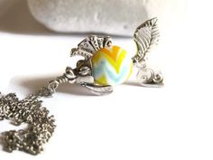 Silver Plated Fish Charm Necklace Lampwork by GlassHouseLampwork, $25.00