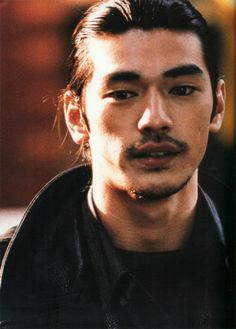 Kaneshiro Takeshi//male, young adult, adult, facial hair, mustache, beard, brown eyes, dark hair, long hair, Japanese