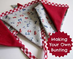 DIY Bunting tutorial - to use leftover fabric from G's room redo Make Bunting, Fabric Bunting, Bunting Garland, Buntings, Bunting Ideas, Fabric Crafts, Sewing Crafts, Sewing Projects, Craft Projects