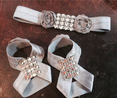 The Royal Chic Princess Headband & Barefoot Sandals for Baby with lots of bling High End Fashion on Etsy, $22.00