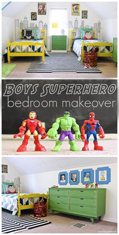 How cute is this Boys Superhero Bedroom Makeover? My boys would love this! - minus the superhero part 😉