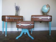 these make me smile and I have the perfect vintage red suitcase to use for it...now to find legs and pick a color...