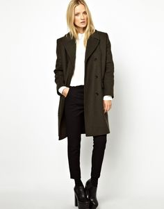 Wood Wood Covert Wool Coat in Army Green