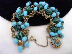 Vintage 60s Miriam Haskell Robin's Egg Blue Green Art Glass Bead Chunky Bracelet   eBay  Purchase from http://stores.ebay.com/theglitterbug