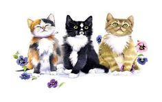 Cat T Shirt, Three Kittens Being Playful, Purrr, Meow!, Purple Flowers, Sm - 5X #Unbranded #CrewNeck