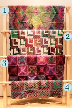 The Amazing Afghan Rack from Lion Brand Yarn Studio  Here are the links to these gorgeous patterns:    1) Knit Mitered Squares Afghan  2) Knit Mitered Square Throw  3) Knit Radiant Squares Afghan  4) Crochet Granny Square Throw