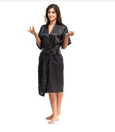Hoge Kwaliteit Zwart Vrouwen Zijde Rayon Robe Sexy Lange Lingerie Nachtkleding Kimono Yukata Nachtjapon Plus Size Sml XL XXL XXXL A-050