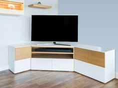 Modern TV Unit Composition with drawers swapped around unit Small Tv Stand Modern Design, Tv Stand Designs, Corner Tv Stands, Corner Tv Unit, Tv Cabinet Design, Tv Unit Design, Corner Tv Cabinets, Tv Unit Furniture, Tv Unit Decor