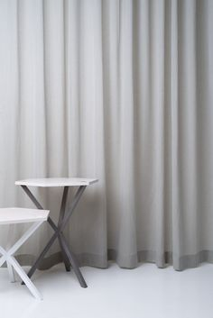 California from Astrid - a light and smooth Trevira CS voile and table and stool from No Early Birds. Furniture Collection, Stool, Curtains, Interior Design, Flame Retardant, Table, Dental Care, Inspiration, Nude