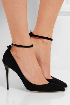 788b9a558b3 Heel measures approximately 100mm  4 inches Black suede Buckle-fastening  ankle strap Made in