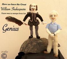 #William #Shakespeare #David #Attenborough #knitteddoll #doll #figure #celeb #icon #author #writer #nature #BBC