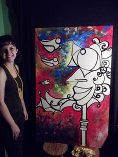 JulliPop e sua pintura live paiting no Kabul Bar em SP