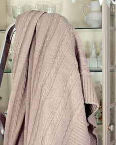 cable knit throw blanket in white cream color