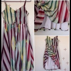 Sun Dress Multi color stripped dress. Adjustable straps. Side zipper.  Cool cotton. Fully lined. Runs small. Fits 6-8 Anthropologie Dresses
