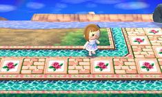Adorable rose brick and water pathway for animal crossing