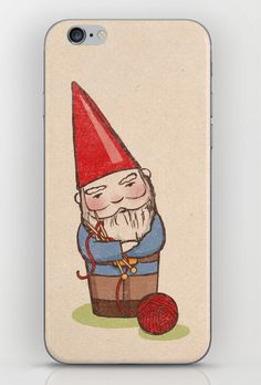 Knitting Gnome iPhone Skin by bleedincolors Iphone Wallet Case, Iphone Case Covers, Random Things, Random Stuff, Iphone Cases Disney, Journal Art, Too Cool For School, Iphone Skins, Painted Stones