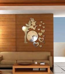 Buy golden raound wall clock wall-clock online
