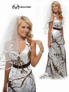 """Are you planning for outdoor wedding? Realtree AP Snow is perfect for a wedding gown. Say """"Yes, I do."""" #realtreecamo #camoformalwear #camowedding"""