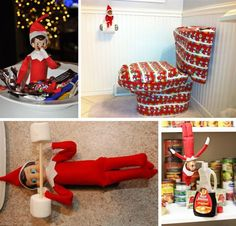 Fun Elf on the Shelf Ideas. Did the syrup and straw with Barbie. Em fascinated by it all day!! So funny!