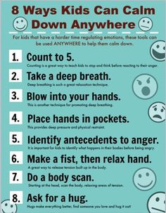 Printable Poster for Helping Children Calm Down - Centro de Salud Bucal Coping Skills, Social Skills, Social Work, Social Status, Social Media, Printable Poster, Printing Practice, 3d Printing, Angry Child