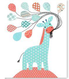 Aqua and Coral Nursery Giraffe Art Print by SweetPeaNurseryArt