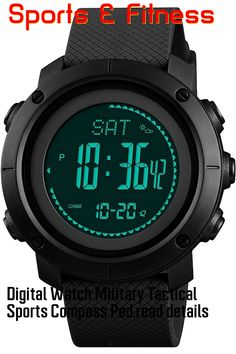 (This is an affiliate pin) Digital Watch Military Tactical Sports Compass Pedometer Alarm Altimeter Barometer Thermometer Outdoor Army Wrist Watches Black