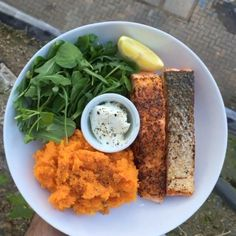 Try this salmon with sweet potato and butter nut squash  #Leanin15