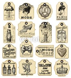 Vector: 16 french retro labels