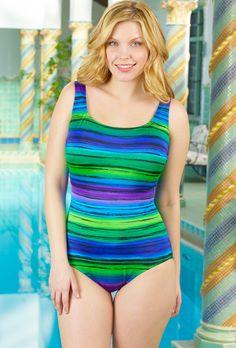 522a262e80305 Longitude Blue Serape Plus Size X-Back Swimsuit(Come on get your gift swim