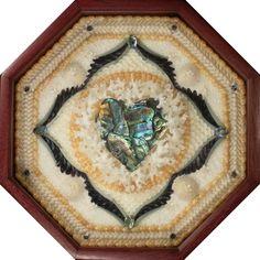 Sailor Valentine seashell mosaic with Paua Heart by Marie Dietsch.