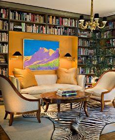 Fabulous den! Love the pop of color!