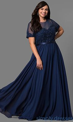 efe4095253f6d Plus-Size Lace-Bodice Long Formal Dress with Sleeves
