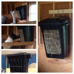 $20 Garbage can hay feeder. Think I will make a tray for below it and will bungee the two sides...does sway a little. But otherwise, cheap, quick, easy, and effective!