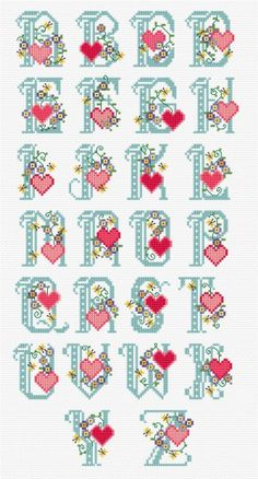 A delightful alphabet set to 'pull the heart strings!' Ideal to stitch for gift tags and last minute cards. Stitch...