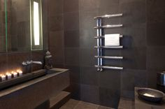 The Bisque Chime Radiator is a gleaming towel rail that hits all the right notes! Kitchen Radiator, Towel Radiator, Hang Towels In Bathroom, Towel Warmer, Family Bathroom, Bathroom Ideas, Grey Bathrooms, Wet Rooms, Towel Rail