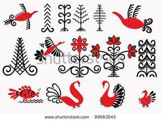 stock-vector-signs-painting-depicting-mezen-flowers-trees-fish-birds-russian-ancient-folk-art-99683045.jpg (450×338)
