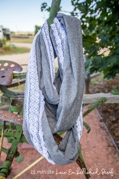15 minute infinity scarf with lace embellishment-cotton flannel