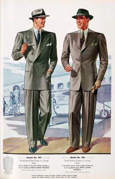 1920-1947 Costume for Men. The English drape suit became extremely popular in the 40's. It had wide shoulders that wrinkled slightly. Pants were loose with a crease down center-front of each leg.