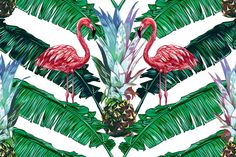 Pink flamingos, palm leaves pattern by Tropicana on @creativemarket
