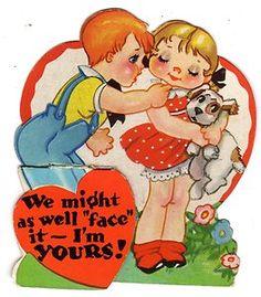 RARE Art Deco Valentine's Day Card Cute Farm Boy Boy Bashful Girl 30s Puppy Dog | eBay