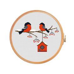 Lovers bullfinches on branch at christmas - modern cross stitch pattern - nesting box rowanberry