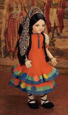 Large English Felt Doll by Norah Wellings in Original Costume  View Catalog Item - Theriaults Antique Doll Auctions