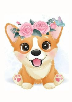 Baby Animal Drawings, Cute Drawings, Drawing Sketches, Watercolor Flower Background, Floral Watercolor, Cute Little Dogs, Cute Dogs, Vintage Floral Backgrounds, Foto Baby